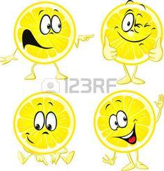 fruit cartoon: lemon cartoon - funny illustration isolated on white background