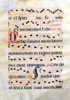 Large Gregorian Chant Antiphones, Early 15th Century, France Incredible large illuminated medieval manuscript!  Parchment from the 15th century (presence of dropped initials).  Written in rotunda script, contemporary with the Gothic scripts used in Southern Europe.  Size : 14 x 20 inches (35 x 52 cm).