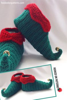 Elf shoes crochet pattern from Hooked On Patterns - A Cute addition to any Christmas Outfit #Christmas #Elf #Crochet Elf Slippers, Elf Shoes, Modern Crochet Patterns, Christmas Elf, Fingerless Gloves, Arm Warmers, Outfit, Cute, Fingerless Mitts