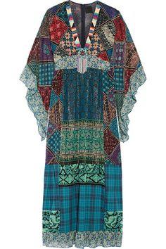 Anna Sui Anna Sui - Embellished Silk-blend Chiffon And Cotton Maxi Dress - Blue Blue Chiffon Dresses, Chiffon Maxi Dress, Blue Maxi, Beaded Chiffon, Beaded Dresses, Maxi Dresses, Loose Dresses, Casual Dresses, Cotton Long Dress