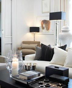 New living room white black grey lamps 55 Ideas Living Room White, Living Room Interior, Home Living Room, Home Interior Design, Living Room Decor, Cream And Black Living Room, Living Area, Room Color Schemes, Room Colors