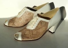 """Feel the breeze on your feet in this lacy leather and mesh Oxford with ribbon ties. - Leather and mesh uppers with leather soles - Whole and half sizes, 5 ½-11 - Medium widths - 2 ½"""" heel - Available"""