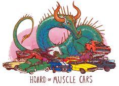 Unusual Dragon Hoards-Muscle Cars-by Lauren Dawson