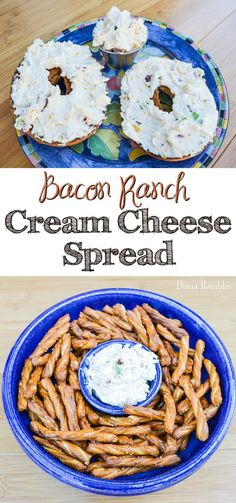 Bacon Ranch Cream Cheese Spread Recipe - Need to mix up the normal bagel routine? Try this simple Bacon Ranch Cream Cheese Spread that also makes a great party dip. Flavored Cream Cheeses, Flavored Butter, Cream Cheese Recipes, Butter Recipe, Lemon Butter, Cheese Bagels, Cheese Snacks, Cheese Dips, Homemade Bagels