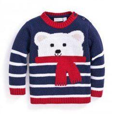 Polar bear cashmere mix jumper the best crochet shoes for kids kids planet babyschuhe stricken babyschuhestricken Crochet For Boys, Knitting For Kids, Crochet Baby, Baby Knitting Patterns, Baby Patterns, Crochet Patterns, Knit Baby Sweaters, Boys Sweaters, Baby Knits