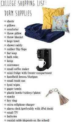 College Shopping List: Dorm Supplies