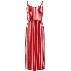 Red & White Vertical Striped Long Maxi Dress With Spaghetti Straps ($16) ❤ liked on Polyvore featuring dresses, red, maxi dress, summer dresses, white dress, long dresses and red dress