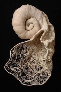 """""""The White Sound"""", textile art by Carol Shaw-Sutton. Twined linen, 2010. © Carol Shaw-Sutton, a sculptor and installation artist specializing in fiber and textile processes."""