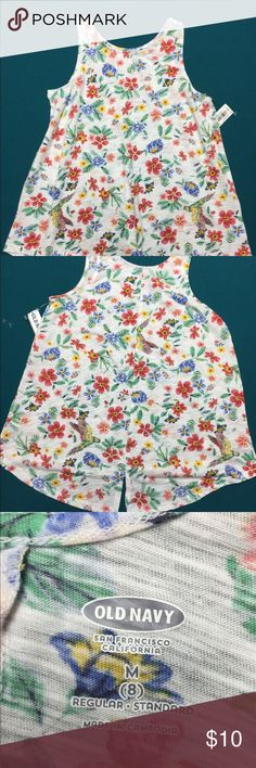 Girls Top Colorful A-line top in Girls Med (8). Soft cotton fabric featuring tropical design. Back bottom edge has small opening.  Cute!  Brand new! Old Navy Shirts & Tops