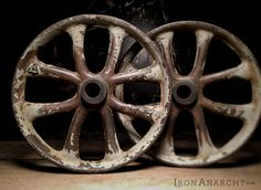 Antique Iron Coffee Table Wheels from IronAnarchy.com