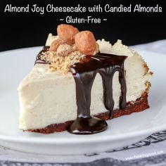 Take the childhood favorite Almond Joy candy bars and elevate them to an elegant, delicious, and addicting dessert - you will love this chilly, sweet Coconut and Chocolate Cheesecake with Candied Almonds all summer long!  Gluten-Free; © 2016 Jane Bonacci, The Heritage Cook