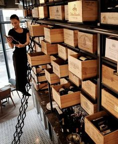 Large Wine Crate Shelving for a Wine Store Bar Interior, Bar A Vin, Home Wine Cellars, Wine Display, Bottle Display, Bottle Shop, Fire Escape, Wine Wall, Wine And Liquor