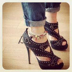 Mui Mui shoes. anklets & cuffed jeans