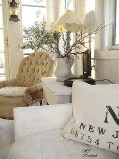 Spray Painted Chair, Living Room.  White, Grey, Black, Chippy, Shabby Chic, Whitewashed, Cottage, French Country, Rustic, Swedish decor Idea. ***Pinned by oldattic ***.