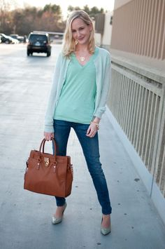 Super Casual Friday Attire: Mint T-Shirts, Pumps and Jeweled Sweaters - Kelly in the City