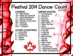 So exciting to see who's coming to our Festival (www.festival2014.ca) We Are Festival, New Brunswick, Nova Scotia, British Columbia, Ontario, Minnesota, Indiana, Virginia