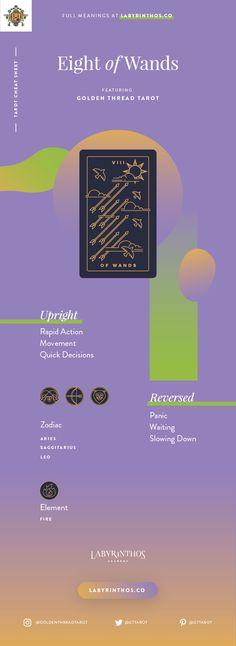 Eight of Wands Meaning - Tarot Card Meanings Cheat Sheet. Art from Golden Thread Tarot.