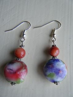 Plastic Floral Beaded Dangle Earrings with by DarlingHodgepodge, $2.20