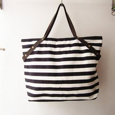 stripes+canvas+tote+bag+weekender+bag+shopping+tote+bag++by+gampri