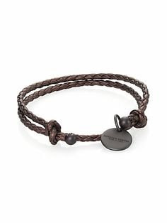 Bottega Veneta - Braided Leather Charm Bracelet - Saks.com
