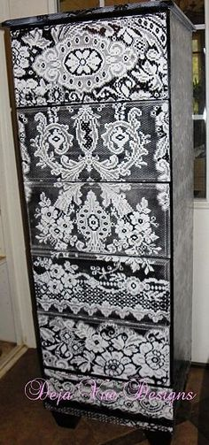 Dresser painted with lace!