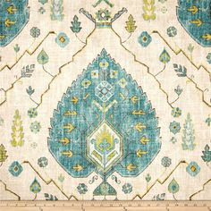 Turquoise, Citrine and Natural Ikat Pillow Cover /  Designer Richloom Aubusson Aegean
