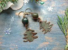 Christmas Earrings copper tree New Year tree jasper gift