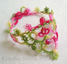 Another original bracelet design I came up with, tatted in my own hand dyed thread.