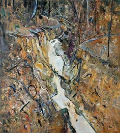 Fred Williams, Wild Dog Creek Oil on canvas, x cm Australian Painting, Australian Artists, Abstract Landscape, Landscape Paintings, Fred Williams, Contemporary Art Artists, Nature Sketch, Space Gallery, Art Club