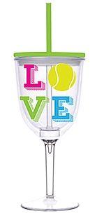LOVE Tennis Acrylic Wine Glass with Lid