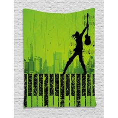Popstar Party Tapestry, Music in the City Theme Singer with Electric Guitar on Grunge Backdrop, Wall Hanging for Bedroom Living Room Dorm Decor, 40W X 60L Inches, Lime Green Black, by Ambesonne #eclecticbedrooms