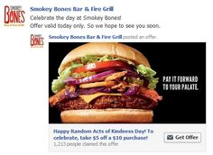 FACEBOOK COUPON $$ Save $5/$10 Purchase at Smokey Bones – Valid Today Only (2/17)!