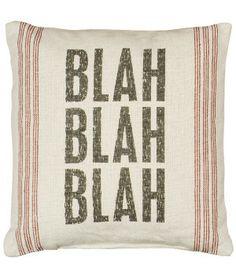 "Rustic ""Blah Blah"" Linen Accent Pillow - lol"
