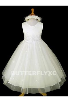 Free Hair Wreath + Flower Girl Pageant Easter Party Dress #K1098
