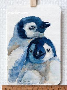 ACEO Baby Penguins postcard original watercolor by LinkedArts, $20.00: