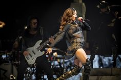 Rihanna performing at the Prudential Center