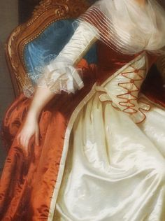 Portrait of Madame de Serres (detail), Joseph Boze, 1787. Oil on canvas.