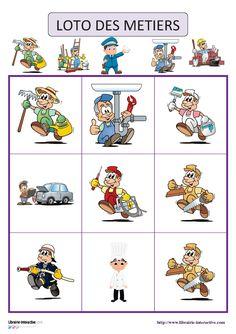 Un jeu de loto 18 images sur le thème des métiers.