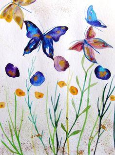 Landscape Watercolor Ink Butterflies Art by CelineArtGalerie, €60.00