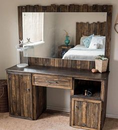 Recycled Pallets Simple timber made part used for making of bed mattress desk and wall design, this form of ideas because you and requirement you to work with DIY furnishings programs and DIY recycled pallet furniture plans. Recycled Pallet Furniture, Pallet Furniture Plans, Wooden Pallet Projects, Recycled Pallets, Rustic Furniture, Wood Pallets, Diy Furniture, Recycled Wood, Antique Furniture