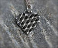 Silver Heart pendant Love heart necklace by KittyStoykovich, $48.00