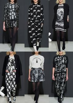 DEVASTEE - Paris Fashion Week – Autumn/Winter 2014/2015 – Print Highlights – Part 1 catwalks - Black and White Conversationals – Object Repeats – Tongue-in-Cheek Superstition References - Black-on-Black Texture – Naive Illustrations – Drawn Objects – Bold Pattern Plays