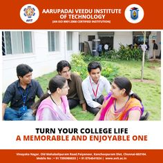 Everyone have a dream about their college life!  We, Aarupadai Veedu Institute of Technology make our student's college life special, fun-filled and memorable. Join AVIT and procure quality education along with joyful college life.