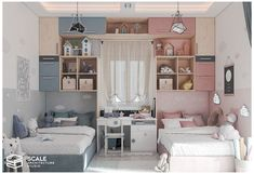Girls Room Design, Kids Bedroom Designs, Room Design Bedroom, Room Ideas Bedroom, Home Room Design, Bedroom Décor, Room Decor, Bedroom Kids, Boy And Girl Shared Room