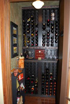 closet turned into a mini wine cellar... love!