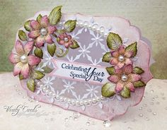 Card made using Heartfelt Creations Sun Kissed Fleur flowers, stamps, sentiments, papers and dies and Spellbinders Grand Oval, Spellbinders Grand Labels Four Die. Made by Liz Walker