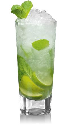 Mojito An easy mojito recipe: 1.5 oz BACARDI Rum 12 fresh spearmint leaves 1/2 lime 7 oz club soda 2 tbsp. simple syrup (or 4 tsp. sugar) Gently crush mint leaves and lightly squeeze lime in a cool tall glass. Pour sweet syrup (or sugar) to cover and fill glass with ice. Add Bacardi Rum, club soda and stir well. Garnish with a lime wedge and a few sprigs of mint.