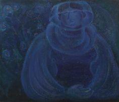Blue portrait TITINA CĂLUGĂRU (CĂPITĂNESCU) 1911, Bucharest - 1973, Bucharest oil on canvas, 66,5 × 79,5 cm Valoare estimativă: € 1.200 - 1.800 Prețul de pornire se va situa sub valoarea minimă a evaluării  Conservation status: for further technical details, do not hesitate to contact loredana.codau@artmark.ro