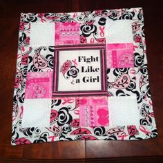 Fight like a girl! Breast cancer quilt wall hanging