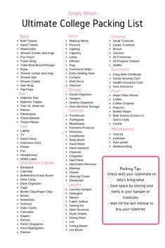 The Ultimate College Packing List - Simply Allison Want to know what to bring to college? This college packing list is filled with everything you need to bring for your dorm room. College Dorm List, College Dorm Checklist, College Dorm Essentials, College Room, College Fun, College Supply List, College Hacks, Education College, Health Education